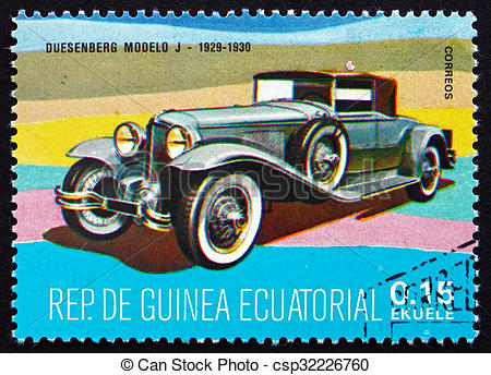 Stock Image of Postage stamp Equatorial Guinea 1972 Duesenberg.