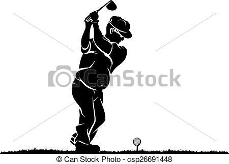 EPS Vector of Older Duffer Golfer Black and White.