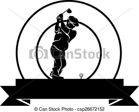 Clipart Vector of Older Duffer Golfer Badge.