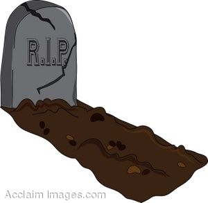 Clip Art of a Cracked Headstone on a Freshly Dug Grave.