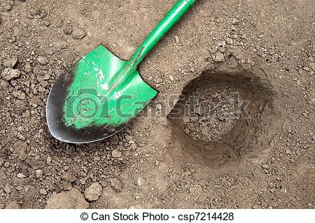 Pictures of Dug hole and shovel.