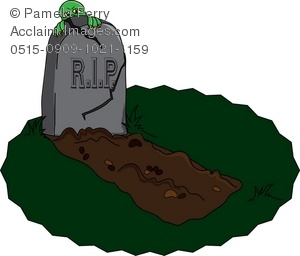 Clip Art Illustration of a Freshly Dug Grave With a Monster.