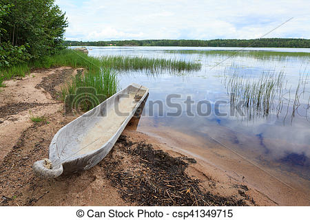 Stock Photography of Stone age dugout boat.