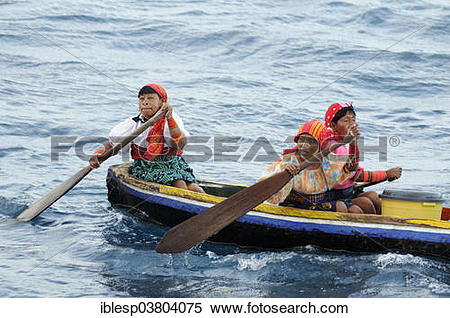 "Stock Image of ""Kuna Indian women in a dugout canoe, Wichubuala."