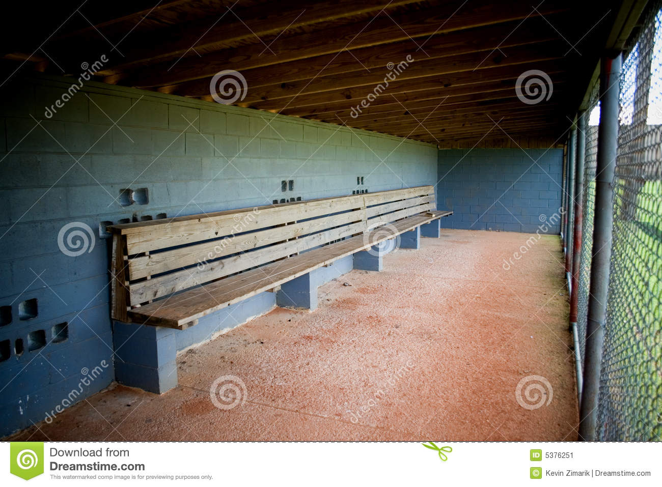 Dugout Empty Stock Image.