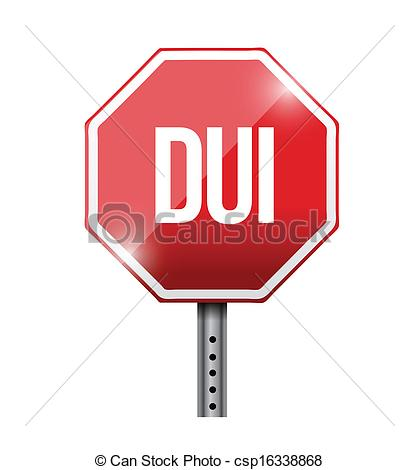 Clip Art Vector of dui road sign illustration design over white.