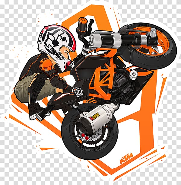 Rider doing stunts on sport bike illustration, KTM 200 Duke.