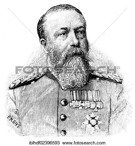 "Stock Photo of ""Historic drawing, portrait of Grand Duke Friedrich."