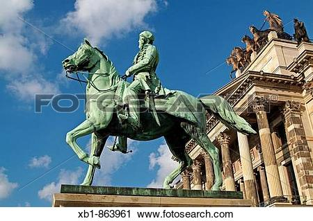 Stock Photography of Equestrian Statue of Duke Friedrich Wilhelm.