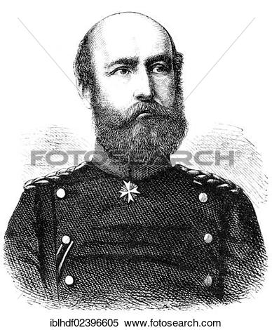 "Stock Image of ""Historic drawing, portrait of Friedrich Franz II."