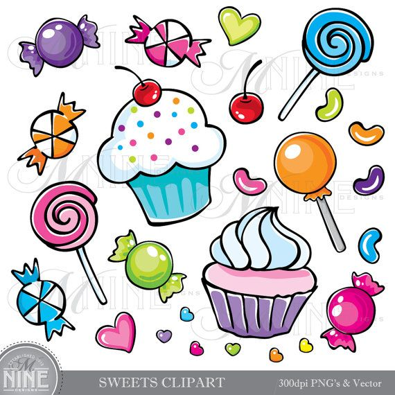 SWEETS Clipart Illustrations Digital Clip Art Vector Art.
