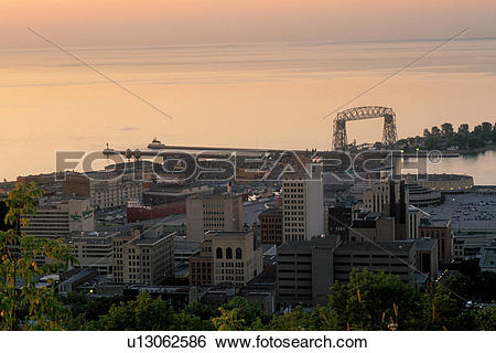 Stock Images of Duluth, MN, Minnesota, Aerial view of downtown.