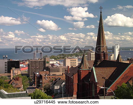 Stock Image of Duluth, MN, Minnesota, Aerial of downtown Duluth.