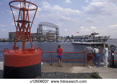 Picture of red warning buoy, Duluth, MN, Minnesota, Lake Superior.