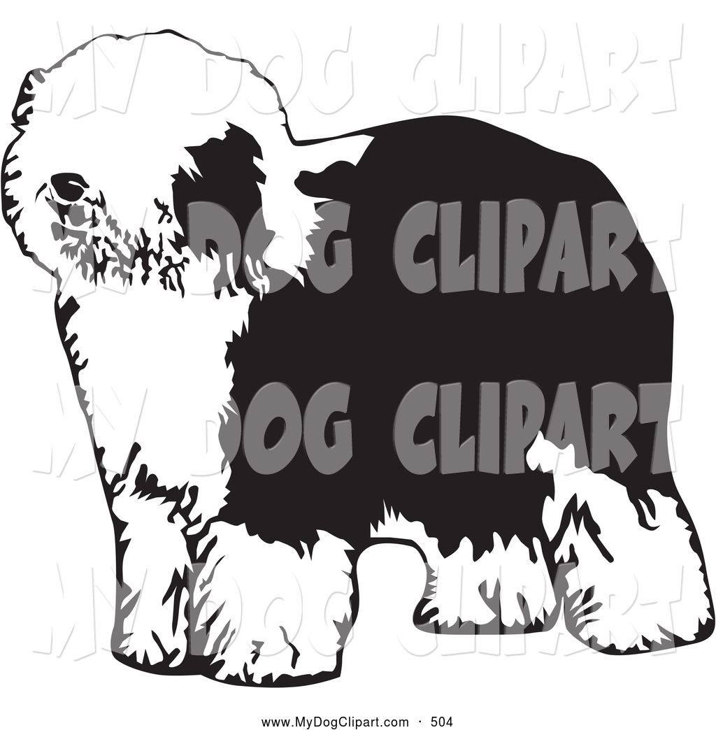 Clip Art of a Hairy Dulux or Old English Sheepdog Canine.