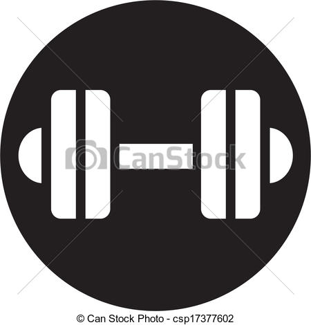 Vector Clipart of dumbbell icon csp17377602.