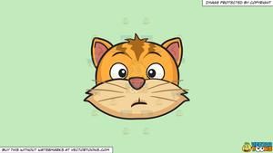 Clipart: A Dumbfounded Cat on a Solid Tea Green C2Eabd Background.