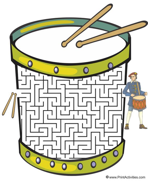 Drum shaped maze from PrintActivities.com.