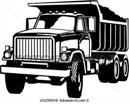 Dump truck clipart black white.