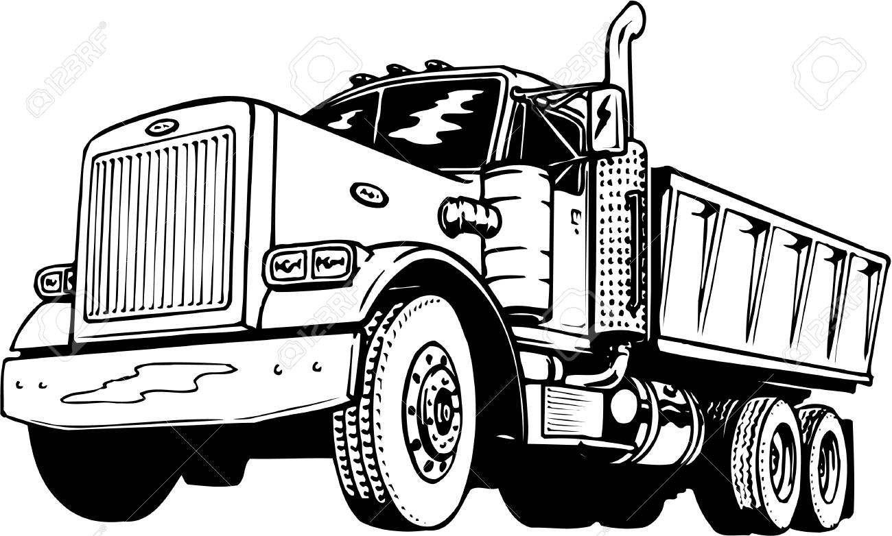 Dump truck clipart black and white 5 » Clipart Station.