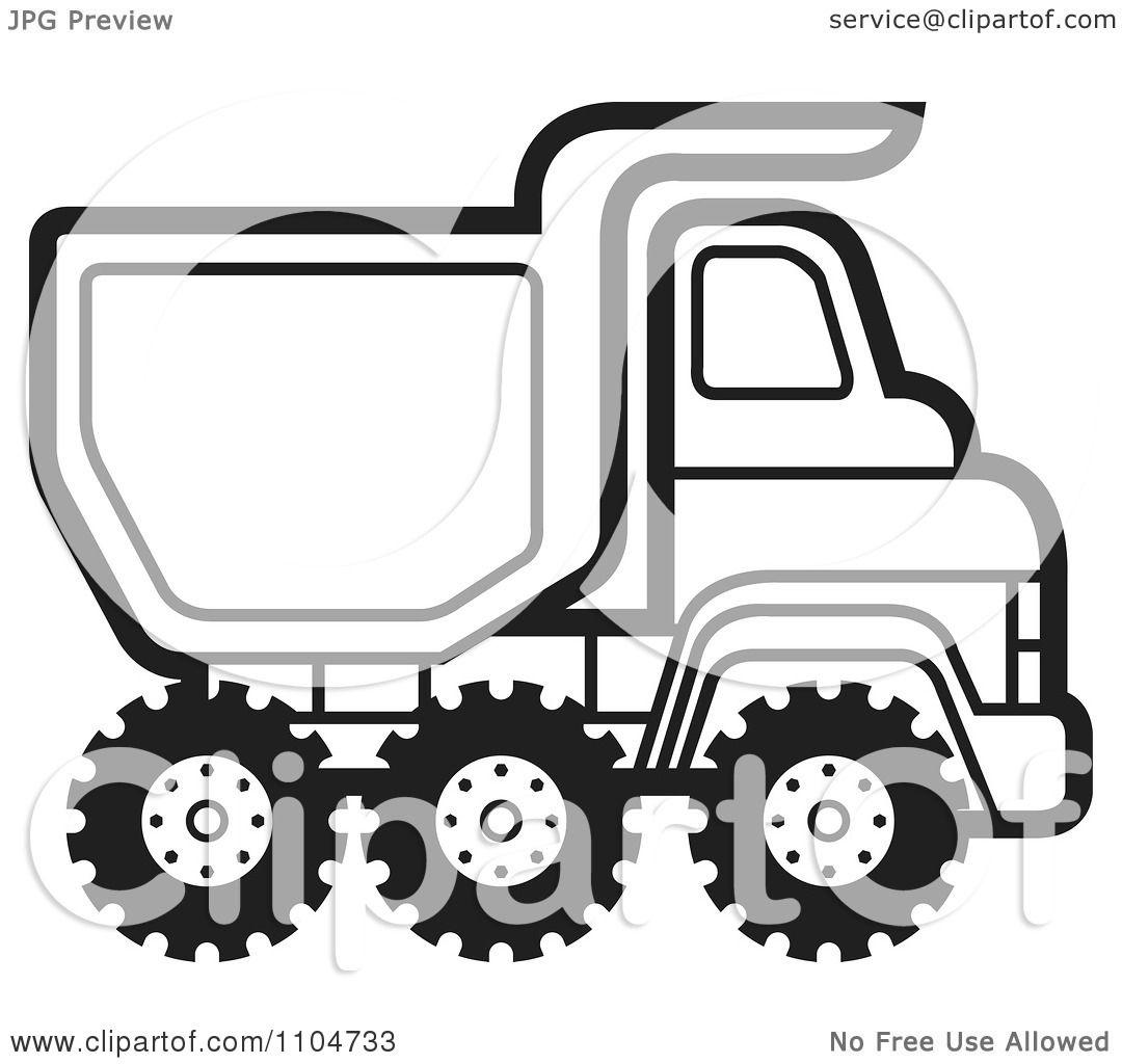 Clipart Black And White Dump Truck 3.