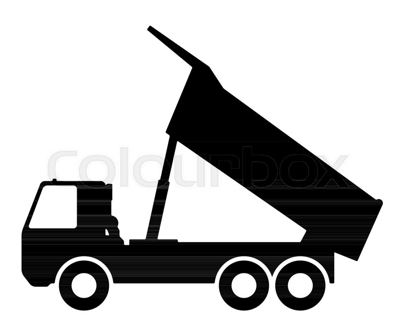 Silhouette of a dump truck on white.