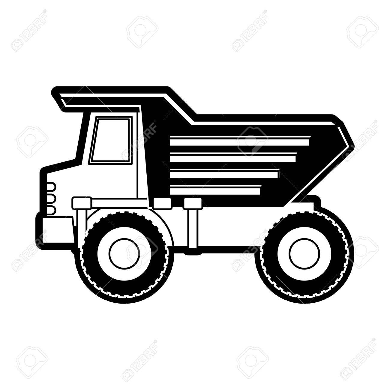 Dump truck flat icon black silhouette vector illustration..
