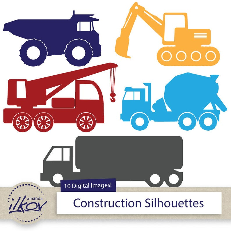 Premium Construction Trucks Clipart for Digital Scrapbooks, Crafting,  Invitations, Web.