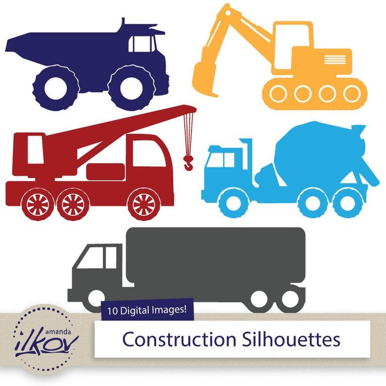 Premium Construction Trucks Clipart for Digital Scrapbooks, Crafting,  Invitations, Web.
