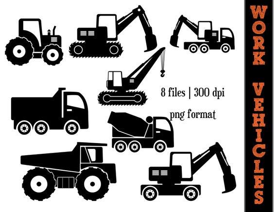 Work Vehicles Silhouettes // Dump Truck Silhouette // Backhoe Clipart //  Transportation // Construction Trucks.