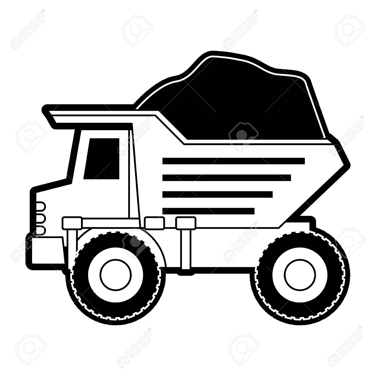 dump truck with rocks on monochrome silhouette vector illustration.
