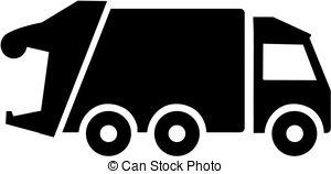 Garbage Truck Silhouette.