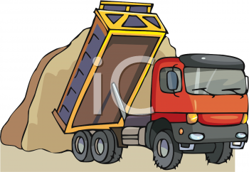 Dump Truck Dropping a Load of Dirt.