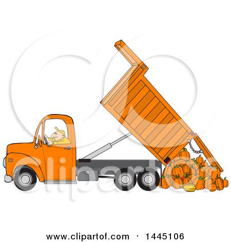 Clipart of a Cartoon Caucasian Man Operating a Red Hydraulic Dump.