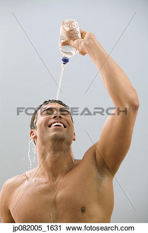 Stock Photography of Man dumping water over his head jp082005_1631.