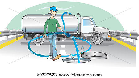 Clipart of Water Dumping, illustration k9727523.