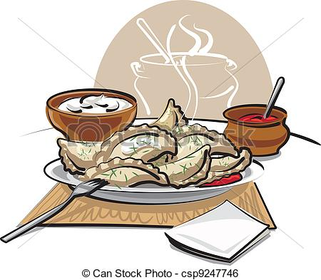 Clip Art Vector of dumplings with sauce and sour cream csp9247746.