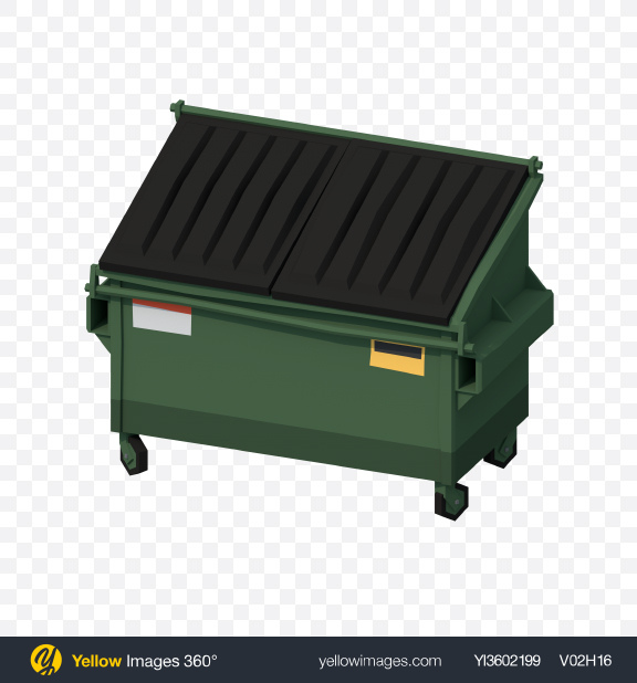 Download Low Poly Dumpster Transparent PNG on Yellow Images 360°.