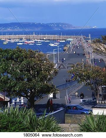 Stock Photo of View to Howth Head from Dun Laoghaire, Dublin.