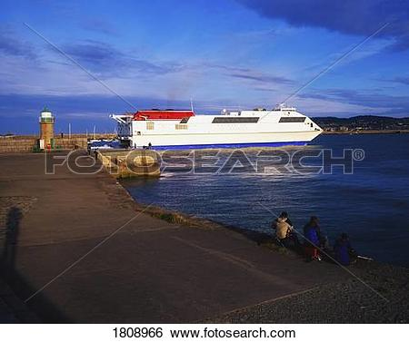 Stock Images of Dun Laoghaire, Co Dublin, Ireland; Stena Hss Ferry.