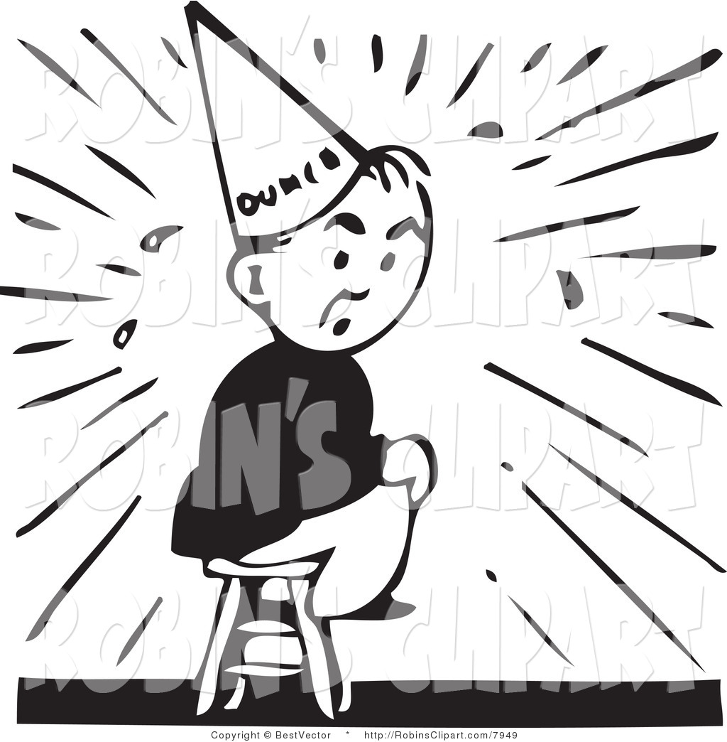 Dunce in a corner clipart.