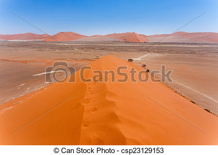 Stock Images of Dune 45 in sossusvlei Namibia, view from the top.