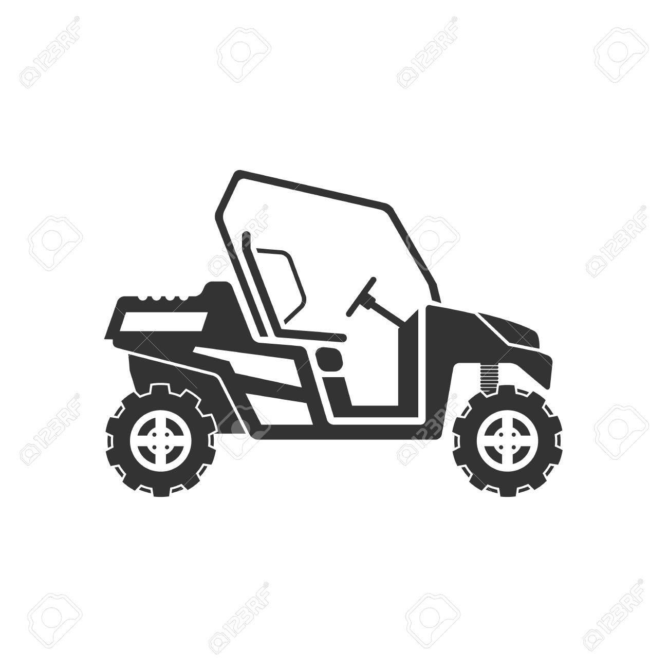 Dune buggy or desert car icon vector illustration isolated on...