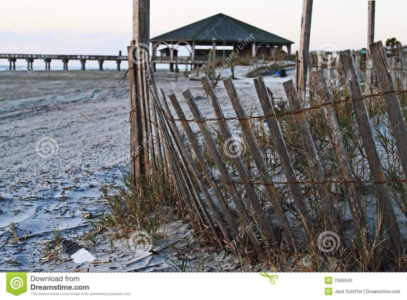 Tybee Island Sand Dunes Stock Photo.