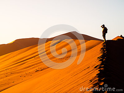 Red Sand Dune, Sossusvlei, Namibia Royalty Free Stock Images.