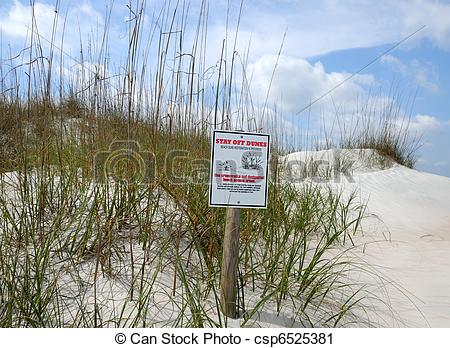 Clipart of Keep Off Sand Dunes Sign.