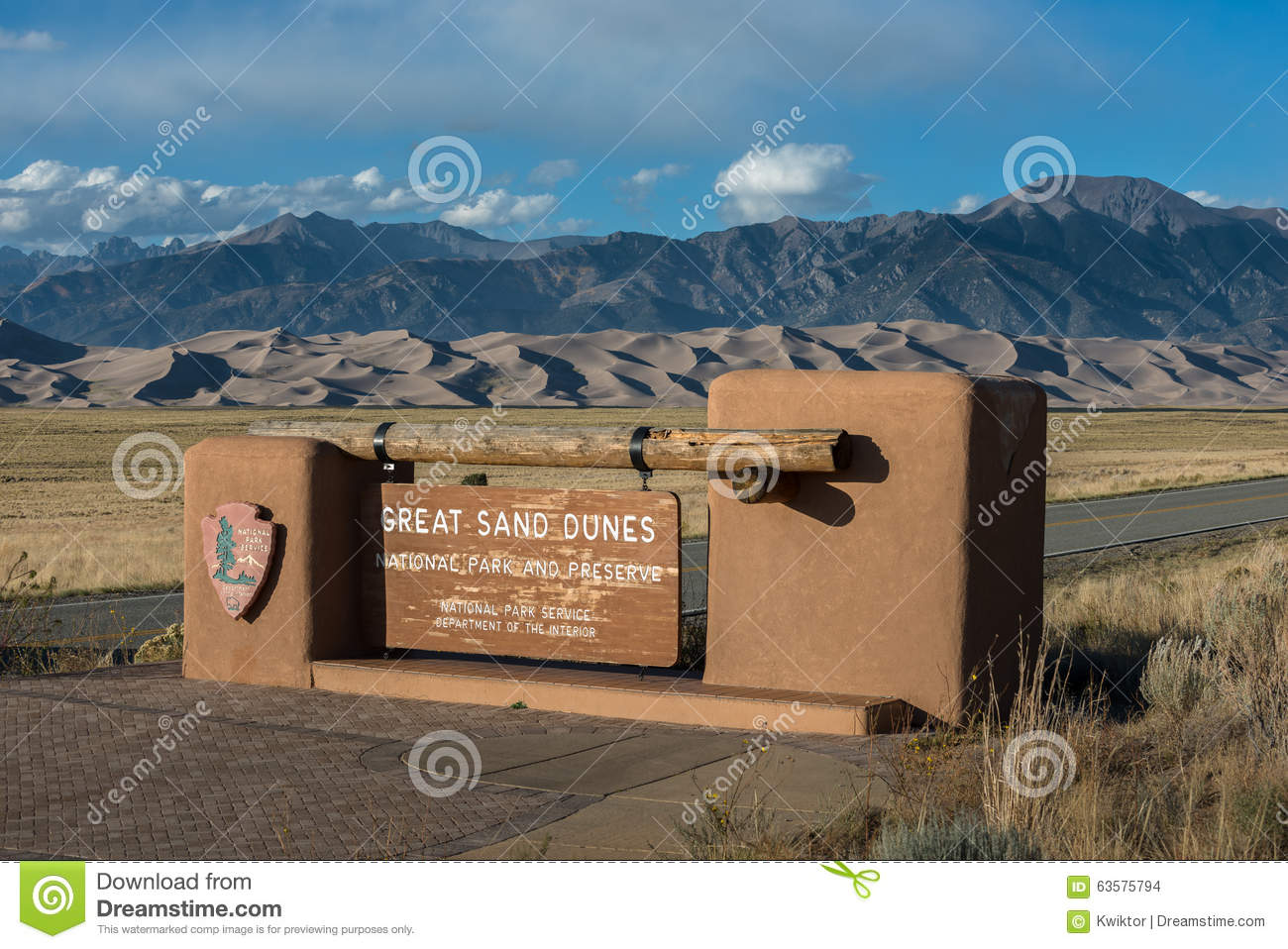 Great Sand Dunes National Park Entrance Sign Stock Photo.