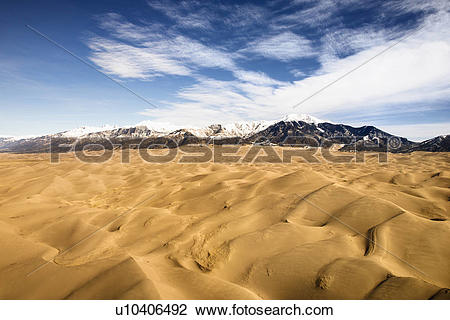 Stock Photo of Aerial landscape of sand dunes in Great Sand Dunes.