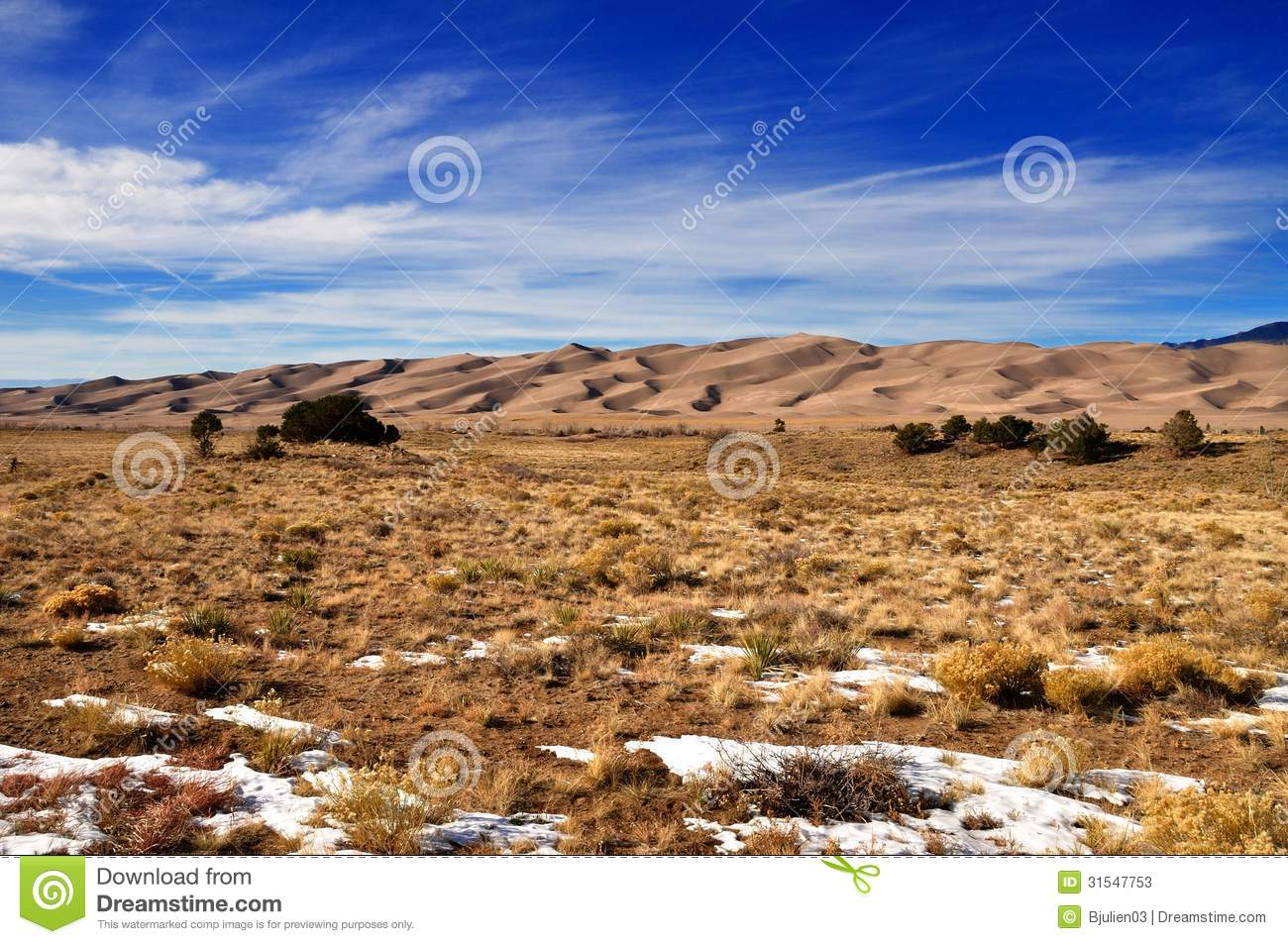 Snow And Vegetation At Great Sand Dunes National Park Stock Photos.