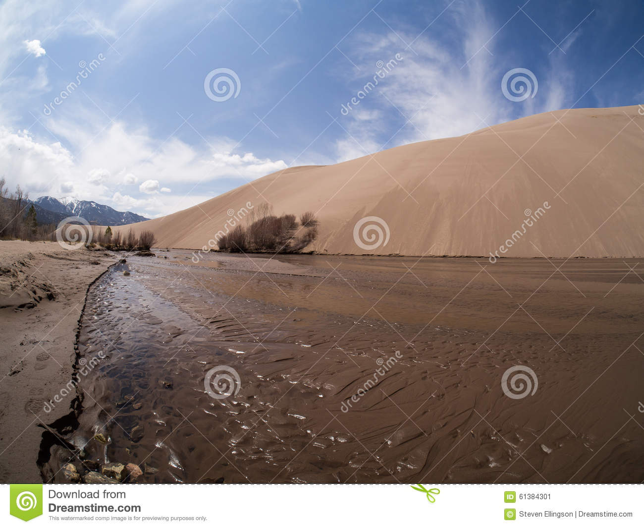 Medano Creek At Great Sand Dunes National Park Stock Photo.